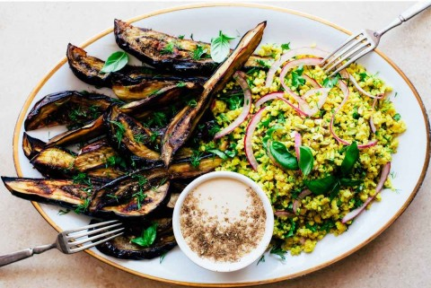 Roasted Eggplant Wedges with Herbed Pistachio Millet