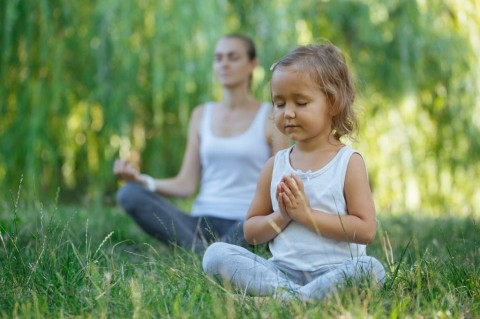 young-mother-and-cute-little-daughter-meditating-in-lotus-pose-picture-id846700118