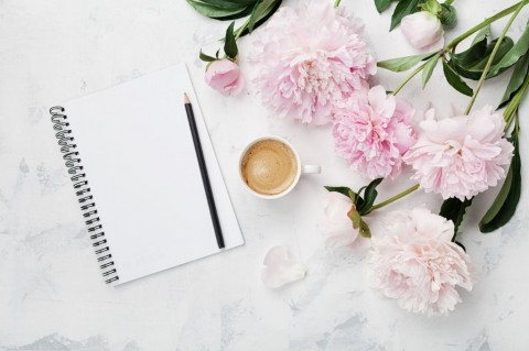 morning-coffee-mug-for-breakfast-empty-notebook-pencil-and-pink-peony-picture-id806870424