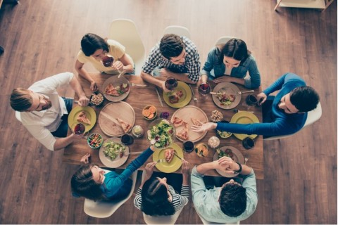 friendship-and-communication-concept-top-view-of-group-of-eight-happy-picture-id936575774