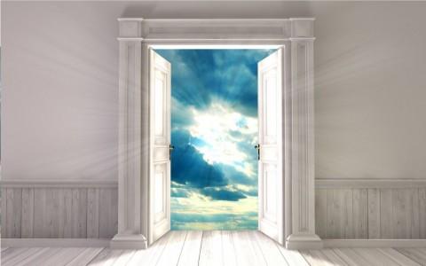 empty-room-with-opened-door-3d-rendering-picture-id697500130