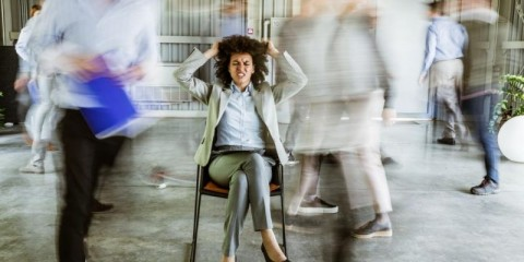 frustrated-african-american-businesswoman-surrounded-by-her-in-picture-id1176305941