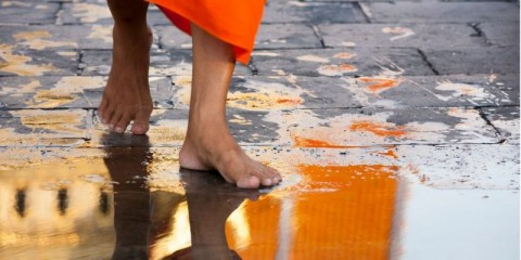 thai-buddhist-monk-walks-barefoot-on-an-alms-round-picture-id187028423