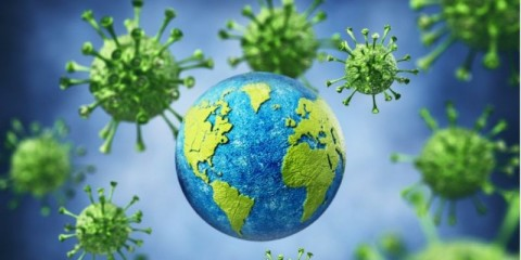 earth-among-large-group-of-virus-against-blue-background-picture-id1216781105