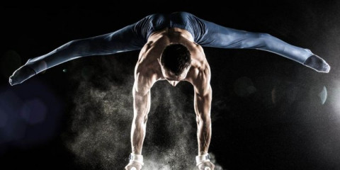 male-gymnast-doing-handstand-on-pommel-horse-picture-id532416167